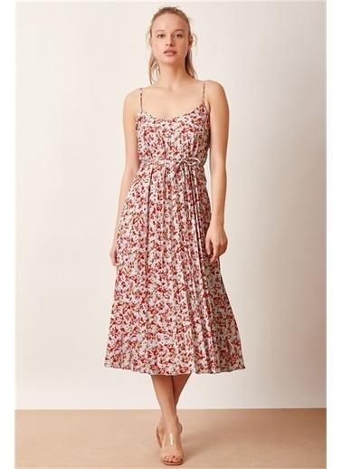 Never More Çiçek Desenli Askılı Elbise Renkli